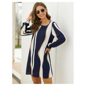 NWOT Striped Long Sleeve Straight Hem Dress